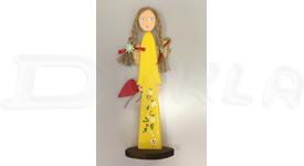 Anjel drevený 46 cm (žltý)