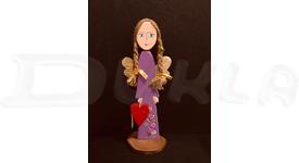 Anjel drevený 39 cm (fialový)