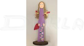 Anjel drevený 46 cm (fialový)