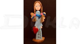 Anjel drevený 39 cm (modrý)
