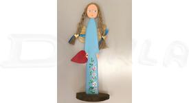 Anjel drevený 46 cm (modrý)