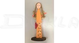 Anjel drevený 46 cm (oranžový)