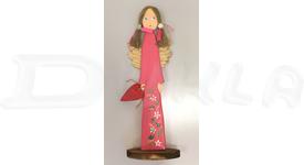 Anjel drevený 46 cm (tmavo ružový)