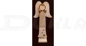 Anjel drevený so svetríkom 57 cm (béžový)