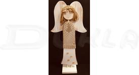 Anjel drevený so svetríkom 57 cm No.3 (béžový)