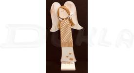 Anjel drevený so svetríkom 57 cm No.4 (béžový)