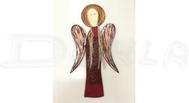 Drevený anjel na stenu s reliéfnym vzorom 59 cm (červený)