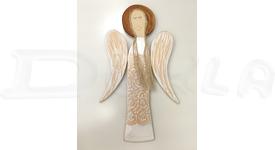 Drevený anjel na stenu s reliéfnym vzorom 59 cm (biely)