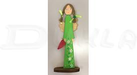 Anjel drevený 46 cm (zelený)