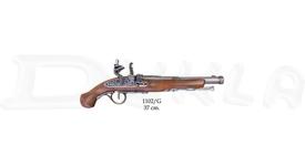 Replika kresadlovej pištole, neschopná streľby. Povrchová úprava - mosadz.  Hmotnosť: 570 g Dĺžka: 37 cm Výrobca: Denix, Španielsko